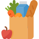 Pacote de compras de alimento